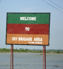 A welcome sign to 521 Brigade Area in English only