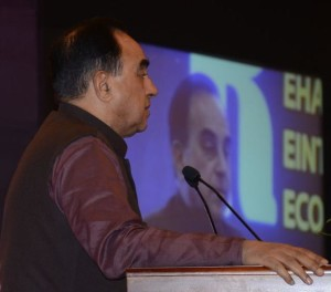 Janata party president Subramanian Swamy speaking at the valedictory of the defence seminar 'Towards lasting peace and stability,' in Colombo on Friday. Photo: R.K. Radhakrishnan