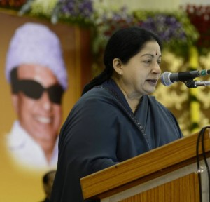 A file picture of Tamil Nadu Chief Minister Jayalalithaa at a function in Chennai. Photo: M. Vedhan.