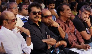 Actor Rajnikanth along with leading Tamil film actors during the day long fast in support of Sri Lankan Tamils, in Chennai on Tuesday. Photo: PTI