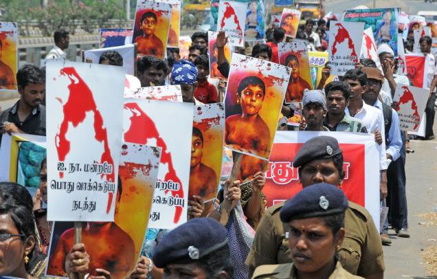 FUTURE IRONY: The simmering agitation in Tamil Nadu against President Rajapaksa may well be the gift he needs for re-election for a third term. Photo: M. Moorthy