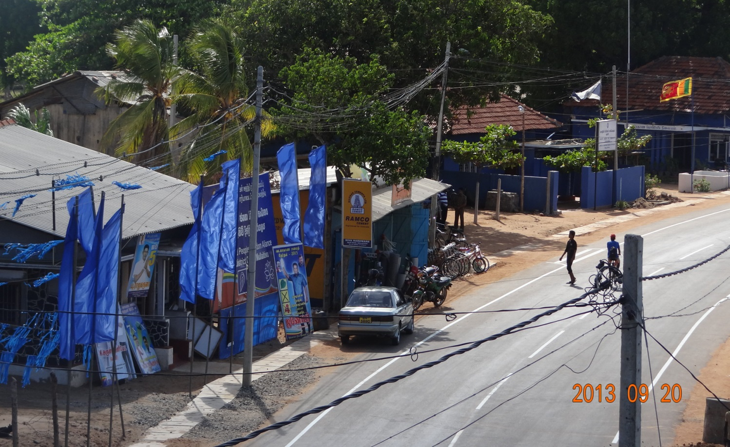 The blatant display of UPFA posters and cut-outs even on 20 Sep 2013, adjacent to the Mullaitivu SP Janaka Gunathilaka's office in the heart of the town.