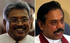 Left: Sri Lanka's defence secretary Gotabhaya Rajapaksa. Right: President Mahinda Rajapaksa.