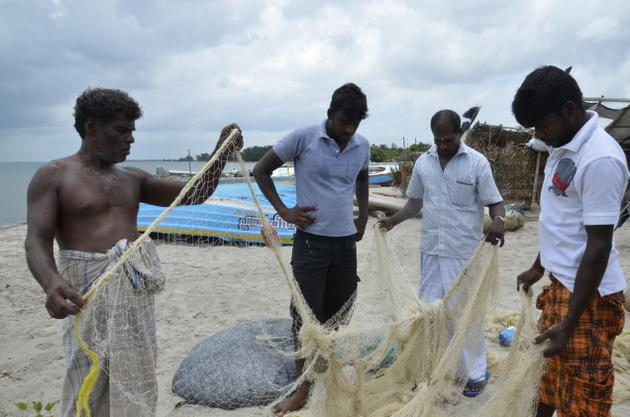Fishermen of Karainagar near Jaffna are among those badly hit by the Indian trawlers, which come virtually to their shore for prawns and shrimps. Photo: Meera Srinivasan