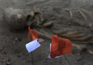 A marked human skeleton is seen at a construction site in the former war zone in Mannar