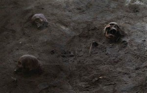 Human skulls are seen at a construction site in the former war zone in Mannar