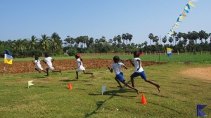 Children playing in school during sports day