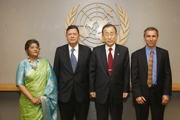 Members of the panel, including Darusman  with UN SG