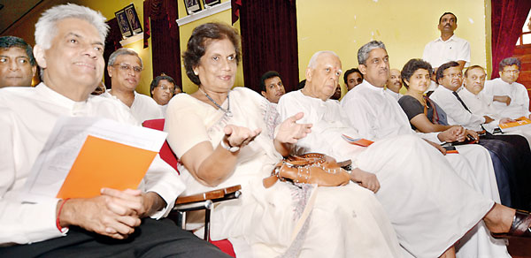 Political and civil leaders at the meeting ( photo Daily FT)