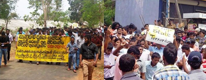 Uni students protests the arrests of tamil students