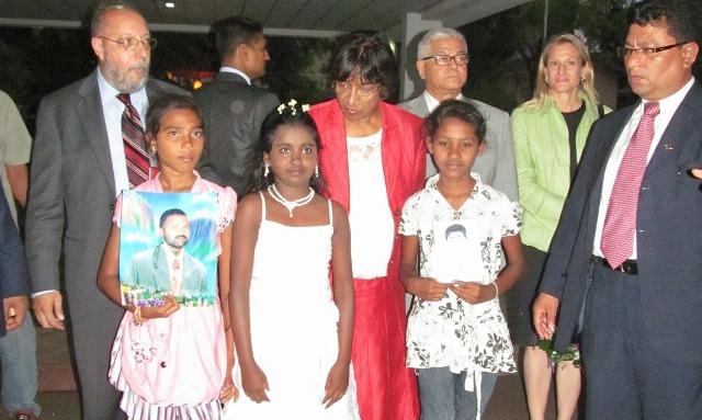 Jayekumari daughter Vibushika (in right) welcoming the High CoJayekumari daughter Vibushika (in right) welcoming the High Commissioner in August 2013)mmissionerin Aug 2013)