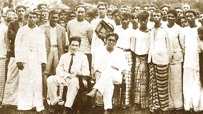 Mark Bracegirdle, seated left next to LSSP leader Colvin R. de Silva, in front of other party members in about 1937. From The Bracegirdle Incident, by Alan Fewster. Source: Supplied