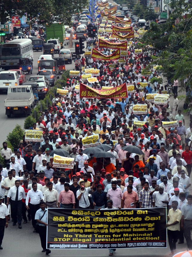 Tens of thousands marched against Rajapaksa 3rd term