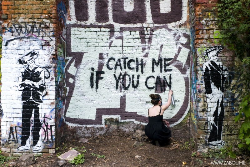 Photography credits – Darren Perry 2013. Title: 'Catch Me If You Can' //  Made with: Spray cans, Stencils  //  Parkland Walk, London, 2013