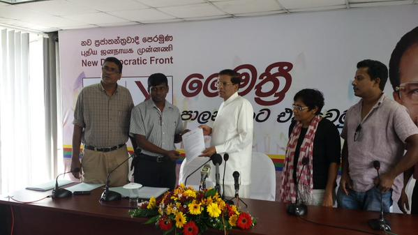 FMM presents its short term proposals to Common candidate Maithripala Sirisena