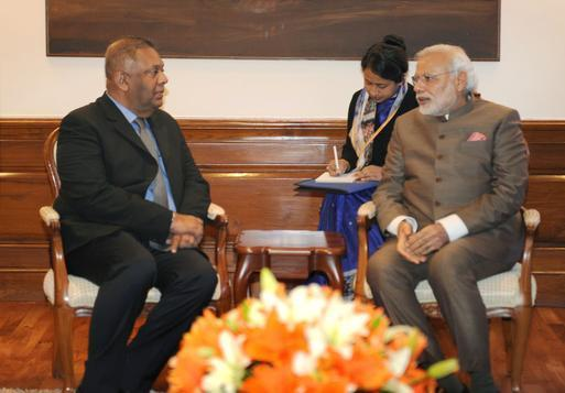 Prime Minister Narendra Modi with Foreign Minister of Sri Lanka, Mangala Samaraweera at a meeting in New Delhi on Monday