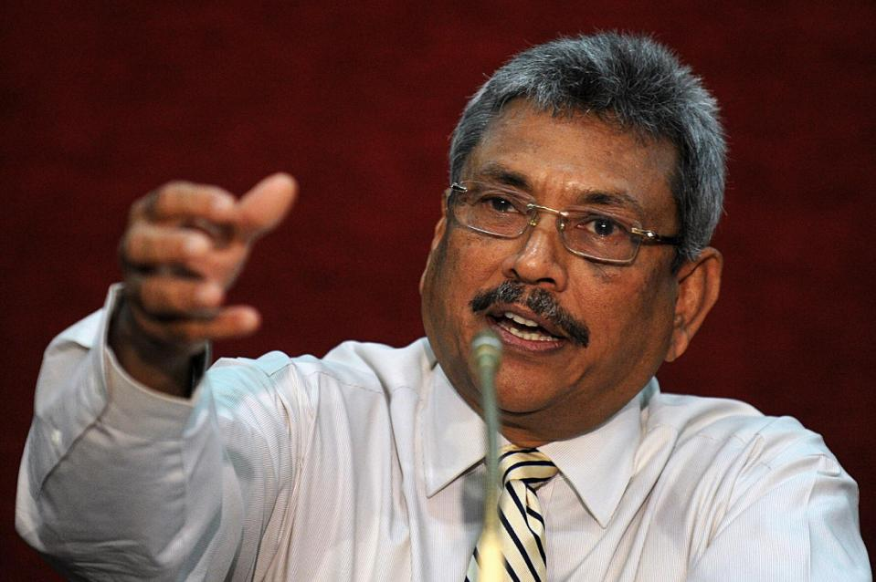 Then Sri Lanka's defence secretary, Gotabhaya Rajapakse, speaks to reporters in Colombo, on January 24, 2013 (AFP Photo/Ishara S.Kodikara)