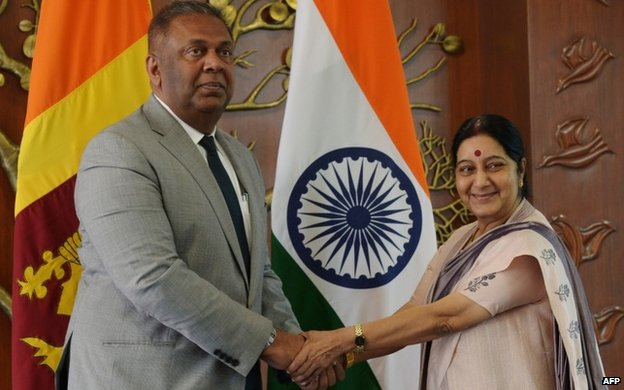 Sri Lanka's Foreign Minister Mangala Samaraweera met his Indian counterpart Sushma Swaraj in Delhi on Sunday