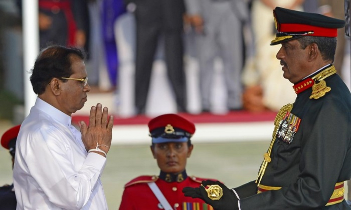 (President Maithripala Sirisena confers the honorary military rank of field marshal on Sarath Fonseka in March at a ceremony in Colombo. Photograph: Lakruwan Wanniarachchi/AFP/Getty Images)