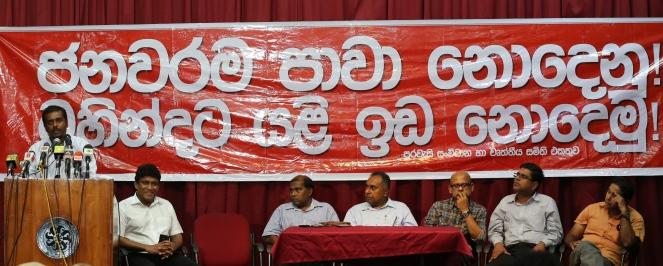 Purawesi Balaya public meeting 090715  Saman Rathnapriya of PB small