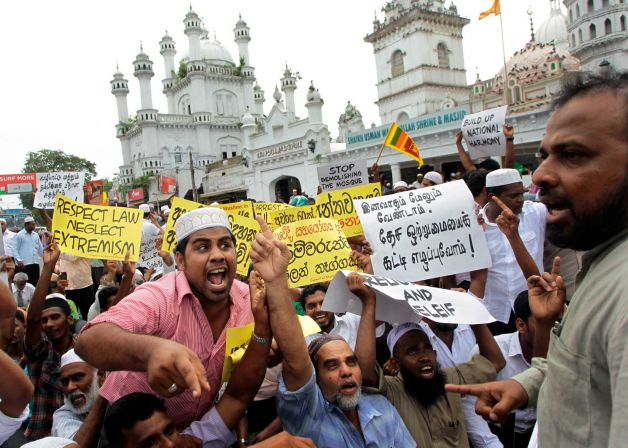 A protest by Muslims in Sri Lanka