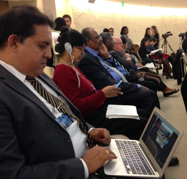 Sri Lanka HRDs and politicians at the HRC 30 listening to the OISL report discussion