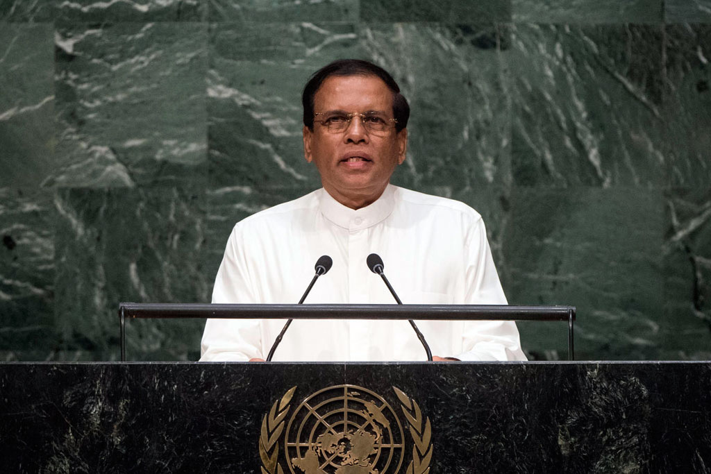 President Maithripala Sirisena of Sri Lanka addresses the general debate of the General Assembly's seventieth session. UN Photo/Cia Pak