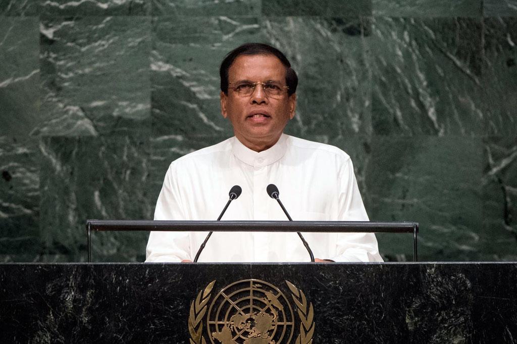 President Maithripala Sirisena of Sri Lanka addresses the general debate of the General Assembly's seventieth session. UN Photo/Cia Pak