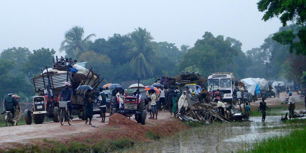 After the war, civilians fleeing