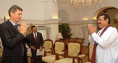 Then Norwegian Ambassador in Colombo Tore Hattrem meets President Rajapaksa