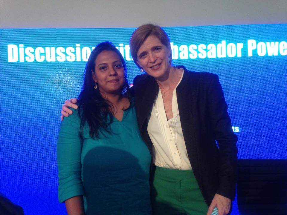 Samantha Power with journalist Dharisha Bastians