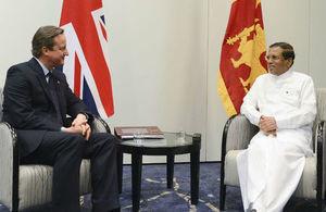 PM David Cameron holds a bilateral with the Sri Lankan President Maithripala Sirisena