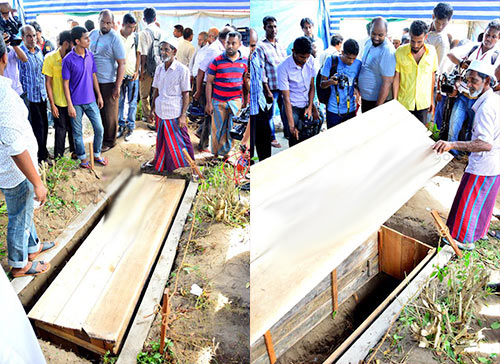 The remains of Wasim Thajudeen being exhumed in August this year.