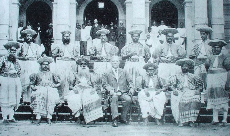 A group of British appointed Kandyan chiefs, with Hon. J. P. Lewis, Government Agent in 1905