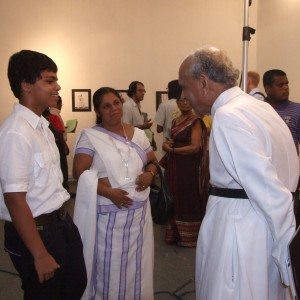 Yphan Devananda with disappeared journlists Prageeth's wife  Sandaya Eknligoda and their  son