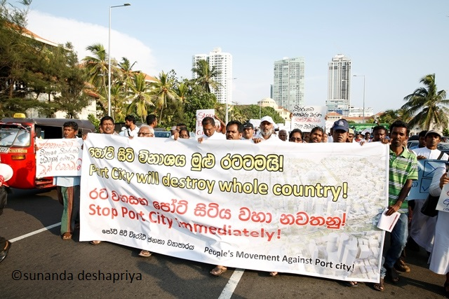Protest against Port City 09;  04.4.2016 (c) sunanda deshapriya