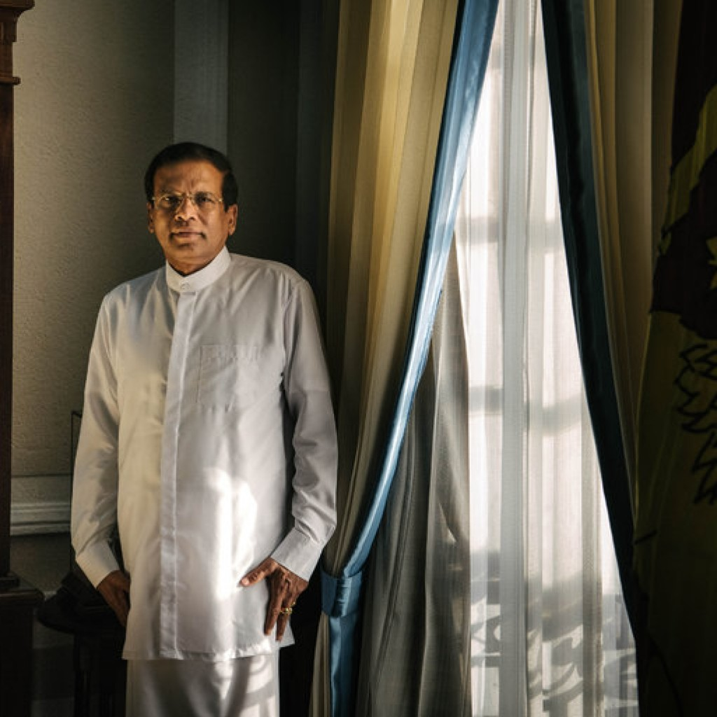 President Maithripala Sirisena of Sri Lanka in his office in Colombo, the capital. He has pledged to persuade his Sinhalese people to support a new Constitution that devolves the powers of the central government that they dominate. Credit Sergey Ponomarev for The New York Times