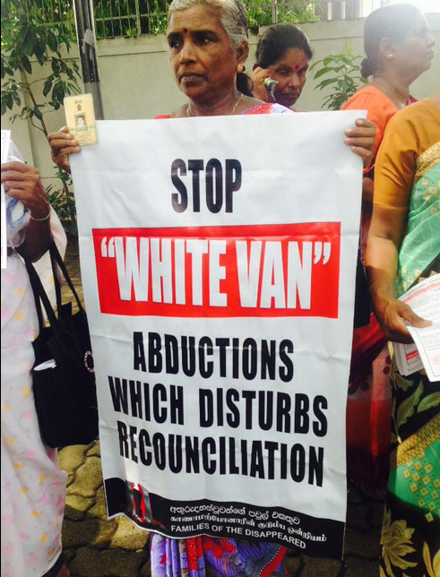 No to white van abductions n Sri Lanka