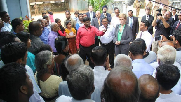 Samantha Power, US envoy to UN, visits office of Uthayan daily in Jaffna