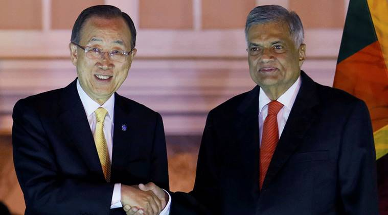 Secretary-General of the United Nations Ban Ki-moon shakes hands with Sri Lanka's PM Ranil Wickremesinghe at their meeting during Ban's three-day official visit in Colombo