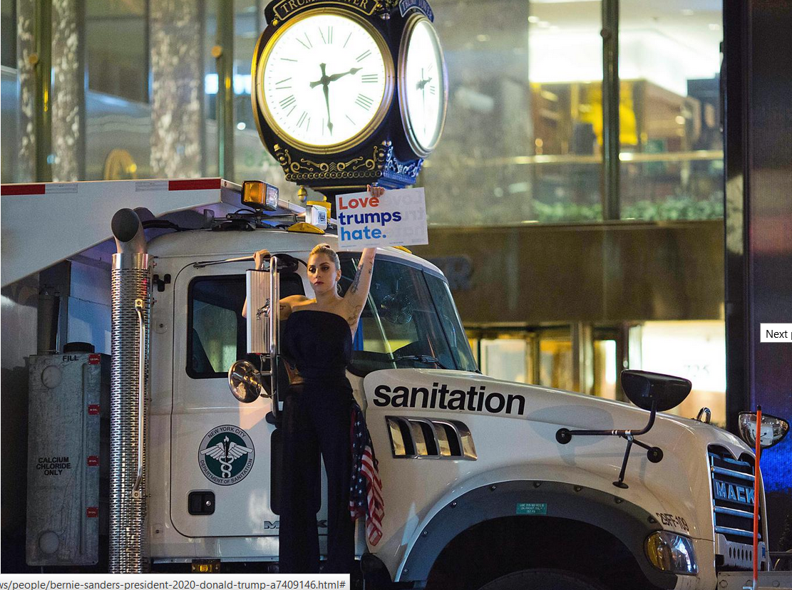 Musician Lagy Gaga stages a protest against Republican presidential nominee Donald Trump on a sanitation truck outside Trump Tower in New York City Getty
