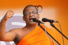 BBS head Gnanasara threatens to box journalist  C.A. Chandraprema's ears!
