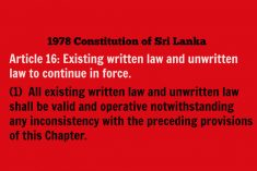 All customary laws  should be consistent with the Constitution of Sri Lanka – HRC-SL