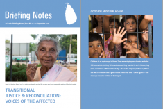 Sri Lanka Briefing Note No 12: Transitional Justice & Reconciliation:  Voices of the Affected