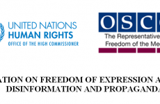Freedom of Expression Monitors Issue Joint Declaration on 'Fake News', Disinformation and Propaganda