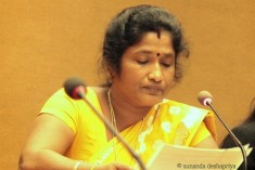 HRC25:Ananthi Sasitharan calls for  political solution to  address causes of  conflict and HR violations in Sri Lanka