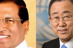 Secretary General Ban Ki-Moon telephones President Maithripala Sirisena