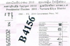 400 ballot papers marked for  defeted Presidential candidate Fonseka;s symbol 'Swan' found at Kalagedihena