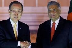 UN chief Ban Ki-moon meets Sri Lanka Prime Minister Ranil Wickremesinghe